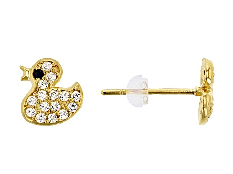 Bella Luce® .29ctw Round White Cubic Zirconia 14k Yellow Gold Duck Earrings