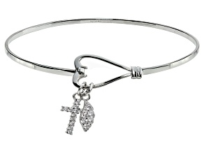 Bella Luce ® .64ctw Diamond Simulant Rhodium Over Silver inspirational Bangle