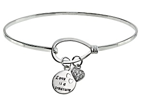 Bella Luce ® .18ctw Diamond Simulant Rhodium Over Silver inspirational Bangle