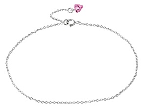 1.25ct Sterling Silver Heart Anklet