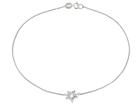 0.29ctw Sterling Silver 9 inch Star Anklet