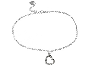 .42ctw Sterling Silver 9 inch Heart Anklet