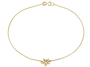 .30ctw 18k Yellow Gold Over Sterling Silver 9 inch Star Anklet