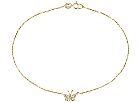 .27ctw 18k Yellow Gold Over Sterling Silver 9 inch Butterfly Anklet