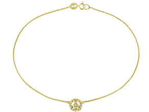 .34ctw 18k Yellow Gold Over Sterling Silver 9 inch Peace Sign Anklet