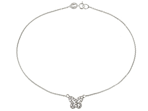 0.36ctw Rhodium Over Sterling Silver 9 inch Butterfly Anklet