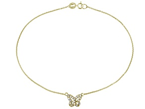 0.36ctw 18k Yellow Gold Over Sterling Silver 9 inch Butterfly Anklet