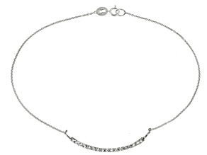 0.32ctw Rhodium Over Sterling Silver 9 inch Anklet