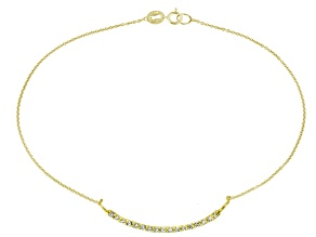 0.32ctw 18k Yellow Gold Over Sterling Silver 9 inch Bar Anklet