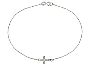 0.19ctw Rhodium Over Sterling Silver 9 inch Cross Anklet