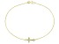 0.19ctw 18k Yellow Gold Over Sterling Silver 9 inch Cross Anklet