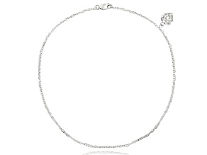 .24ctw Rhodium Over Sterling Silver 10 inch Heart Charm Anklet