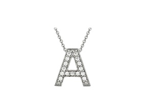 Bella Luce ® .44ctw Round Rhodium Over Sterling Silver initial A Necklace