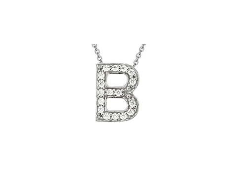 Bella Luce ® .49ctw Round Rhodium Over Sterling Silver Block Letter B Necklace