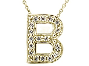 Bella Luce ® 0.49ctw Round 18k Yellow Gold Over Sterling Silver Block Letter B Necklace