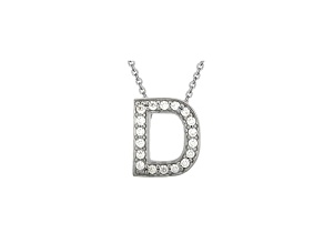 Bella Luce ® .52ctw Round Rhodium Over Sterling Silver Block Letter D Necklace