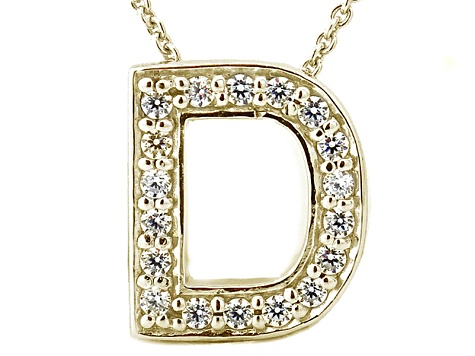 Bella Luce ® .52ctw Round 18k Yellow Gold Over Sterling Silver Block Letter D Necklace