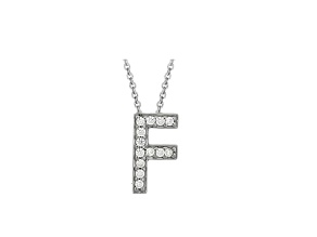 Bella Luce ® .37ctw Round Rhodium Over Sterling Silver Block Letter F Necklace