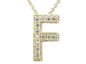 Bella Luce ® .37ctw Round 18k Yellow Gold Over Sterling Silver Block Letter F Necklace