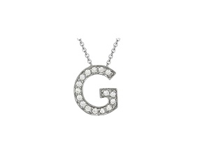 Bella Luce ® .46ctw Round Rhodium Over Sterling Silver Block Letter G Necklace