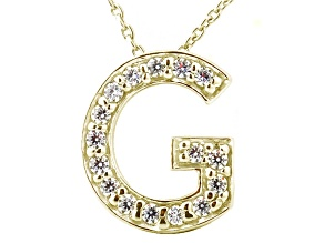 Bella Luce ® .46ctw Round 18k Yellow Gold Over Sterling Silver Block Letter G Necklace