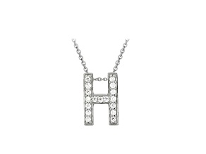 Bella Luce ® .49ctw Round Rhodium Over Sterling Silver Block Letter H Necklace