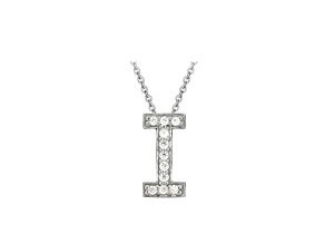 Bella Luce ® .31ctw Round Rhodium Over Sterling Silver Block Letter I Necklace