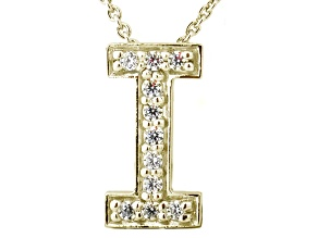 Bella Luce ® .31ctw Round 18k Yellow Gold Over Sterling Silver Block Letter I Necklace