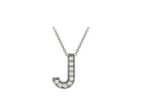 Bella Luce ® .26ctw Round Rhodium Over Sterling Silver Block Letter J Necklace