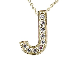Bella Luce ® .26ctw Round 18k Yellow Gold Over Sterling Silver Block Letter J Necklace