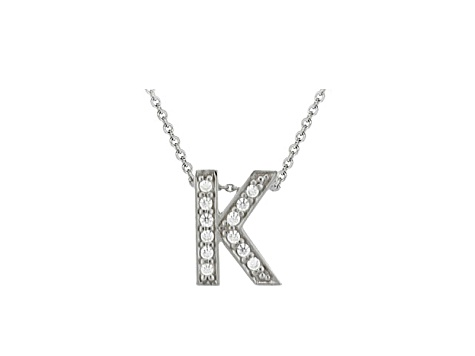 bella luce 34ctw round rhodium over sterling silver block letter k necklace
