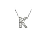 Bella Luce ® .34ctw Round Rhodium Over Sterling Silver Block Letter K Necklace