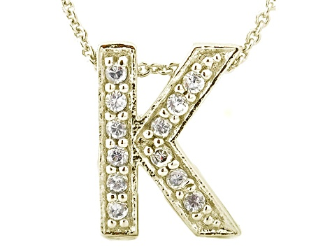 bella luce 34ctw round 18k yellow gold over sterling silver block letter k necklace