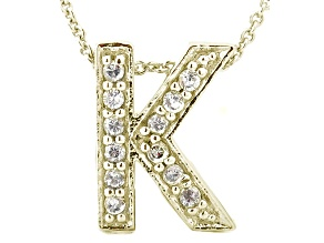 Bella Luce ® .34ctw Round 18k Yellow Gold Over Sterling Silver Block Letter K Necklace