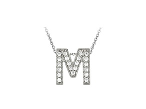 Bella Luce ® .60ctw Round Rhodium Over Sterling Silver Block Letter M Necklace