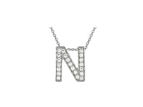 Bella Luce ® .60ctw Round Rhodium Over Sterling Silver Block Letter N Necklace