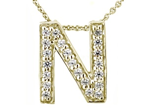 Bella Luce ® .60ctw Round 18k Yellow Gold Over Sterling Silver Block Letter N Necklace