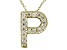 Bella Luce ® .46ctw Round 18k Yellow Gold Over Sterling Silver Block Letter P Necklace