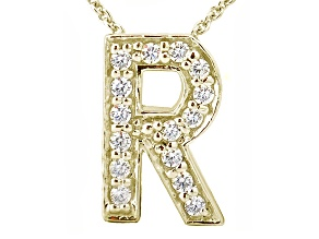 Bella Luce ® .44ctw Round 18k Yellow Gold Over Sterling Silver Block Letter R Necklace