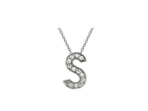 Bella Luce ® .34ctw Round Rhodium Over Sterling Silver Block Letter S Necklace