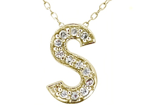 Bella Luce ® .34ctw Round 18k Yellow Gold Over Sterling Silver Block Letter S Necklace