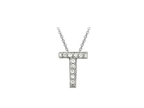 Bella Luce ® .26ctw Round Rhodium Over Sterling Silver Block Letter T Necklace