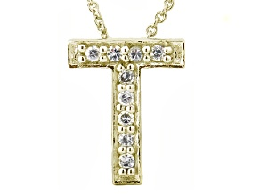 Bella Luce ® .26ctw Round 18k Yellow Gold Over Sterling Silver Block Letter T Necklace