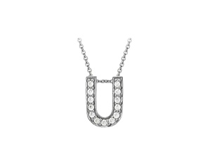 Bella Luce ® .37ctw Round Rhodium Over Sterling Silver Block Letter U Necklace