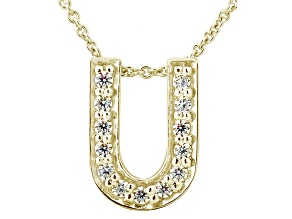 Bella Luce ® .37ctw Round 18k Yellow Gold Over Sterling Silver Block Letter U Necklace