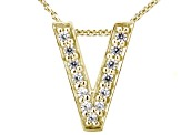Bella Luce ® .37ctw Round 18k Yellow Gold Over Sterling Silver Block Letter V Necklace