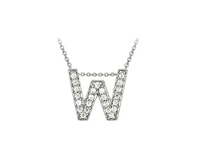 Bella Luce ® .66ctw Round Rhodium Over Sterling Silver Block Letter W Necklace