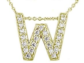 Bella Luce ® .66ctw Round 18k Yellow Gold Over Sterling Silver Block Letter W Necklace