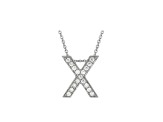 Bella Luce ® .49ctw Round Rhodium Over Sterling Silver Block Letter X Necklace