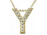 Bella Luce ® .34ctw Round 18k Yellow Gold Over Sterling Silver Block Letter Y Necklace
